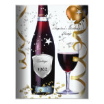 Vintage 50th Birthday Wine Black Gold Balloons Custom Announcements