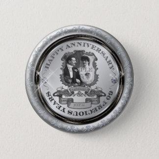Vintage 60th Anniversary ID195 2 Inch Round Button