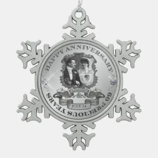 Vintage 60th Anniversary ID195 Pewter Snowflake Ornament