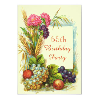 """Vintage 65th Birthday Colorful Fruits & Flowers 5"""" X 7"""" Invitation Card"""