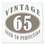 "Vintage 65th Birthday Gifts 5.25"" Square Invitation Card"