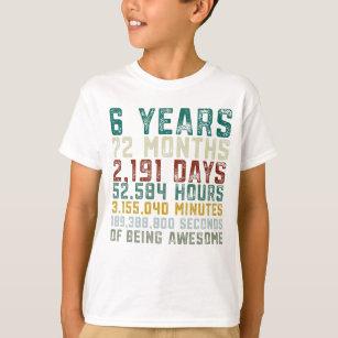 Vintage 6 Years Old 6th Birthday Boy Anniversary T Shirt