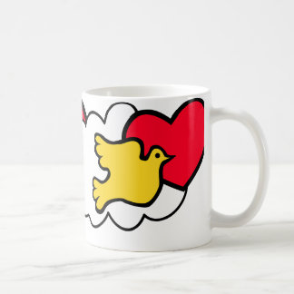 Vintage 70's design Bird and heart coffee mug