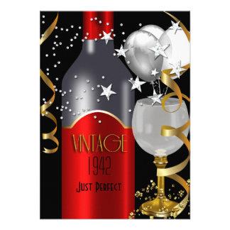 Vintage 70th Birthday Red Wine Black Gold Silver Custom Invites