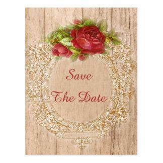 Vintage 75th Birthday Red Rose Wooden Frame Postcard