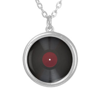 Vintage 78 rpm record transparent PNG Silver Plated Necklace