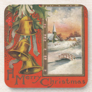 """Vintage """"A Merry Christmas"""" with Christmas Bells Beverage Coasters"""