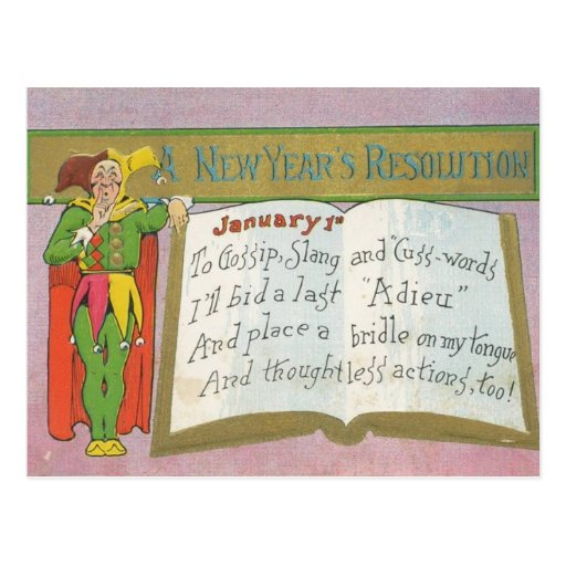 Vintage : A new year's resolution - Postcard