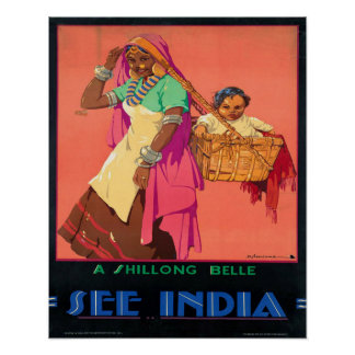 Vintage A Shilong Belle See India Dorothy Newsome Poster