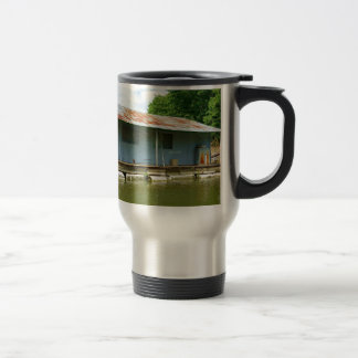 Vintage Abandoned Boat Dock House on Water Travel Mug