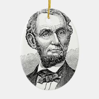 Vintage Abe Lincoln Bust Ceramic Ornament