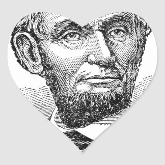 Vintage Abe Lincoln Bust Heart Sticker