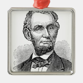 Vintage Abe Lincoln Bust Metal Ornament