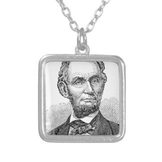 Vintage Abe Lincoln Bust Silver Plated Necklace