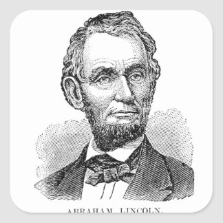 Vintage Abe Lincoln Bust Square Sticker