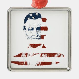 Vintage abraham lincoln american flag metal ornament