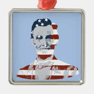 Vintage Abraham Lincoln Independence Day Silver-Colored Square Ornament