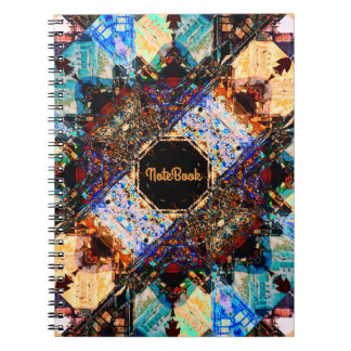 "Vintage Abstract Art | Text Template: ""Notebook"" Spiral Note Book"