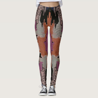 vintage abstract design, magenta black rust leggings