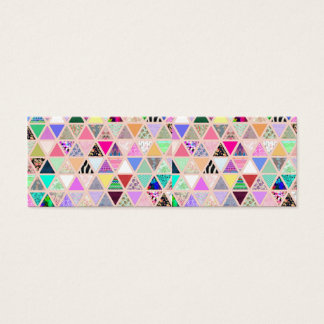Vintage Abstract Floral Triangles Pastel Patchwork Mini Business Card