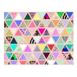 Vintage Abstract Floral Triangles Pastel Patchwork Post Cards