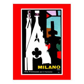 Vintage abstract Italian Travel poster Milan Postcard