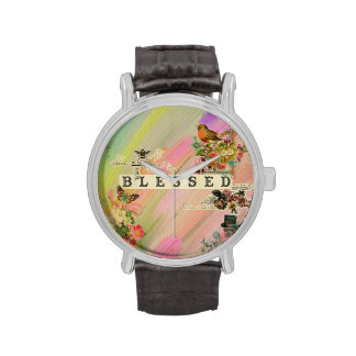 Vintage abstract painting floral steam punk shabby watch