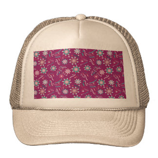 Vintage abstract teal pink floral pattern trucker hat