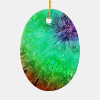 Vintage Abstract Tie Dye Ceramic Oval Ornament