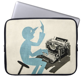Vintage Abstract Typewriter Character Typing Blue Laptop Sleeve