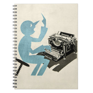 Vintage Abstract Typewriter Character Typing Blue Spiral Note Books