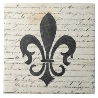 Vintage Accents French Ephemera Fleur De Lis Tile