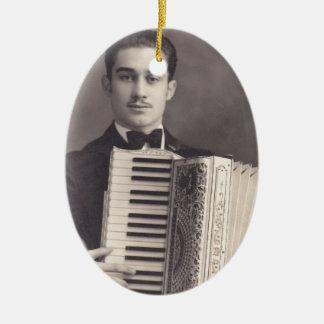 Vintage Accordion Player Ceramic Oval Ornament