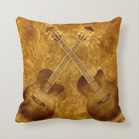 Vintage Acoustic Guitars Pillow