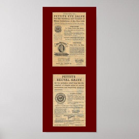 Vintage Ad for Dr Petit's Salve Poster