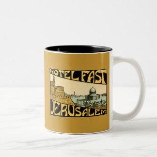 Vintage ad Hotel Fast Jerusalem Two-Tone Coffee Mug