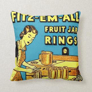 Vintage Ad Kitchen Home Canning Fruit Jar Ring Box Pillow