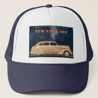Vintage Ad label New Nash 400 Trucker Hat Cap