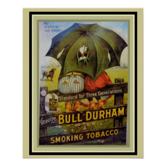 Vintage Ad Poster- Bull Durham Smoking Tobacco Poster