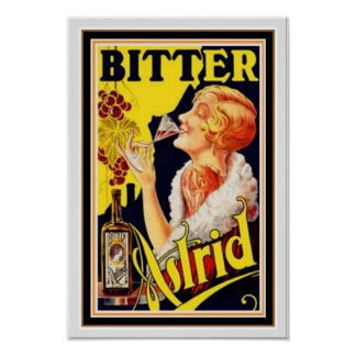 Vintage Ad Poster for Bitter Astrid 13 x 19