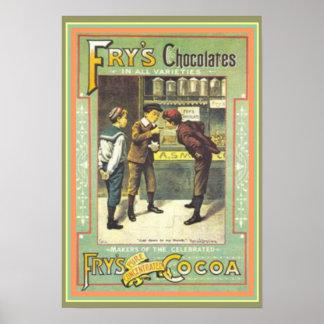 Vintage Ad Poster Fry's Chocolates 13 x 19