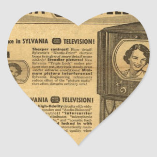 Vintage ad poster: Sylvania television 1950s Heart Sticker