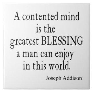 Vintage Addison Content Mind Inspirational Quote Tile