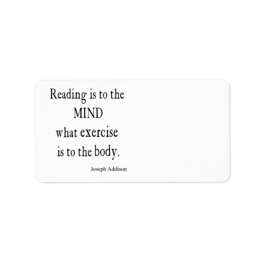 Vintage Addison Reading Mind Inspirational Quote Label