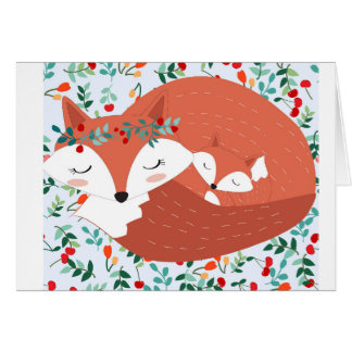 Vintage adorable cute mother fox wolf and her baby card