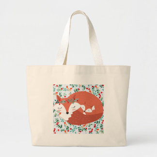 Vintage adorable cute mother fox wolf and her baby large tote bag