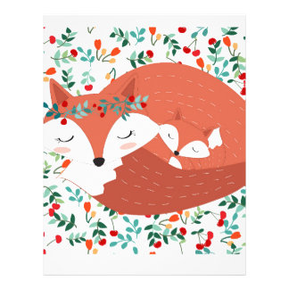 Vintage adorable cute mother fox wolf and her baby letterhead