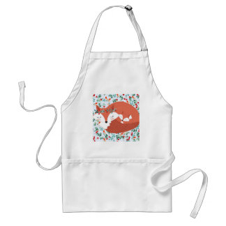 Vintage adorable cute mother fox wolf and her baby standard apron