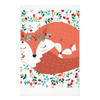 Vintage adorable cute mother fox wolf and her baby stationery