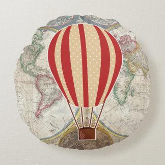 Vintage Adventure Hot Air Balloon World Map Round Pillow